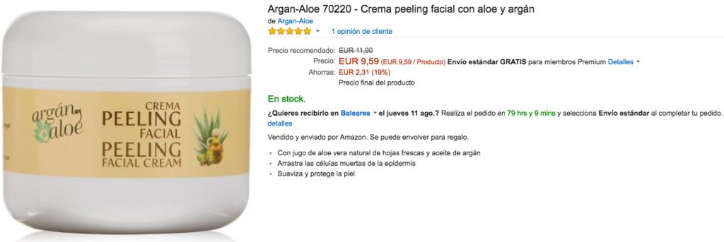 Exfoliantes faciales Argan Aloe Crema peeling facial