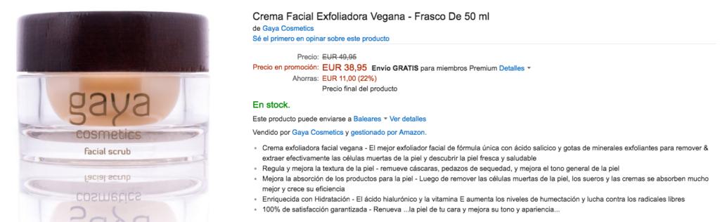 Crema facial exfoliadora vegana